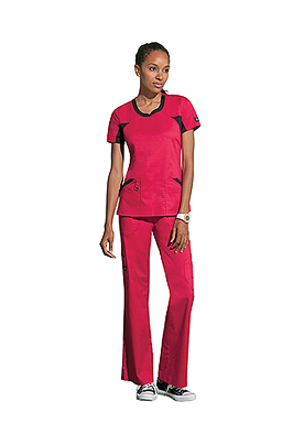 d696786aeec Dickies Jr. Fit V-Neck Knit Panel Scrub Top features performance knit mesh  panels that are strategically placed for ventilation and comfort.