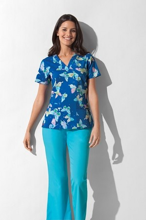 "Dickies Women's ""Youtility"" V-Neck Scrub Top in On The Fly"