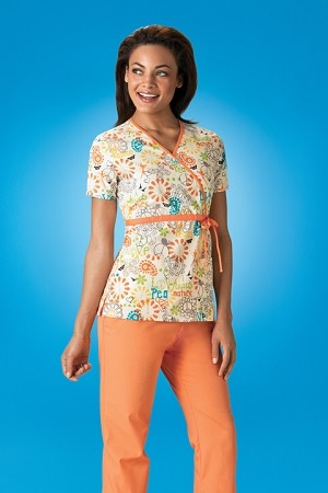 Scrubs HQ 4788 Print Mock Wrap Scrub Top in Peace Love and Paisley